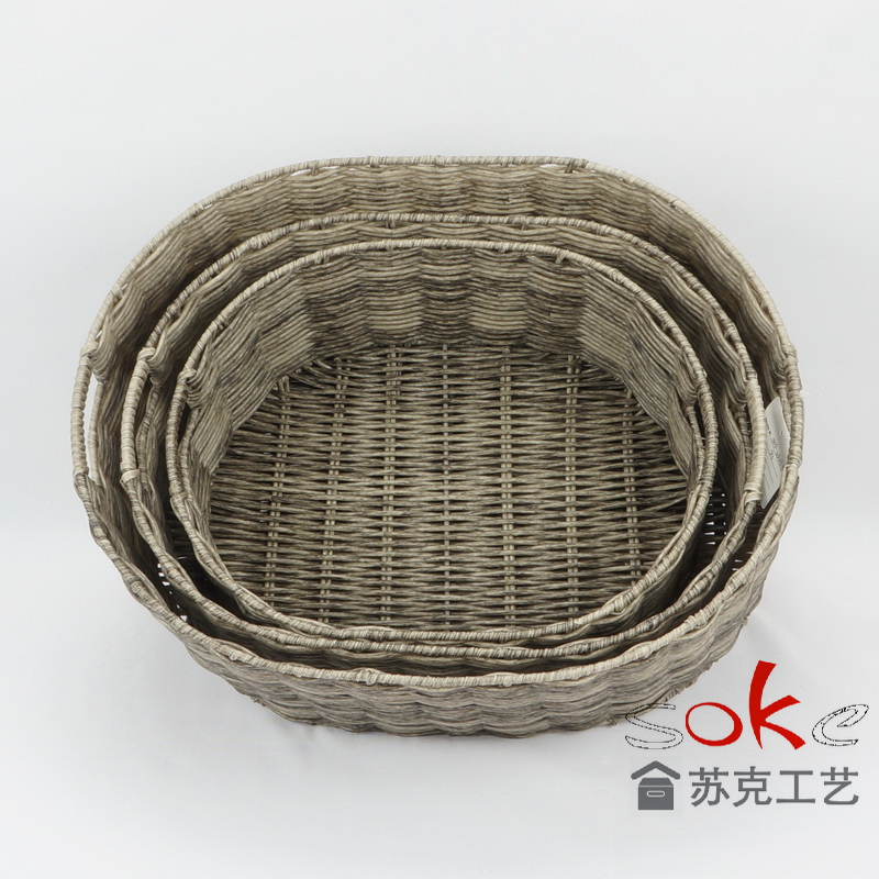 Storage woven basket is made by plastic rattan weave